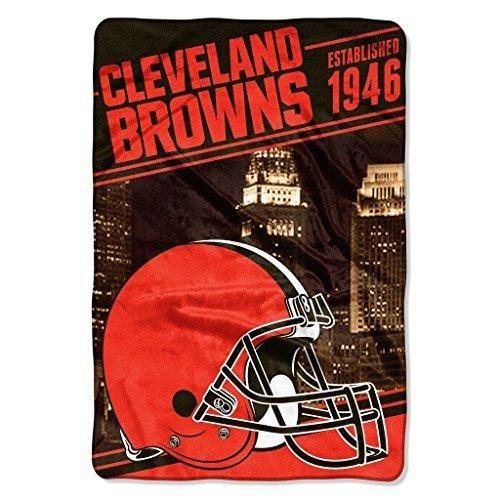NFL Browns Throw Blanket 62 X 90 Football Themed Bedding Sports Patterned Team Logo Fan Merchandise Athletic Team Spirit Fan Dark Brown Orange Polyester