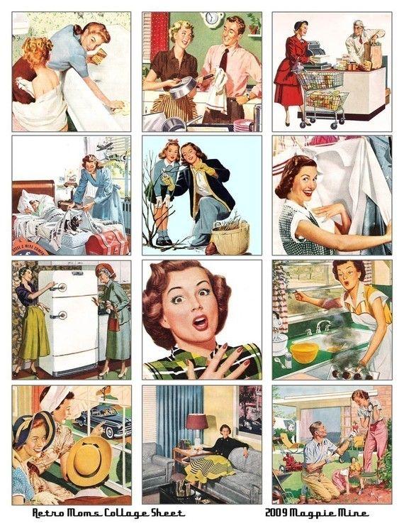 Retro Moms Collage Sheet  jaren 1950  2.5 x 2.5 door MagpieMine