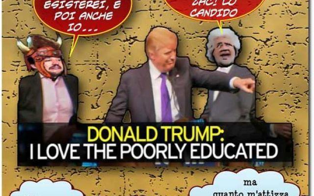 Trump ed il suo endorsement pro ignoranza Trump ed il suo endorsement pro ignoranza hanno suscitato entusiasmo a destra ed ilarità a sinistra, ma è necessario non sottovalutare le apparenti idiozie altrui visti i successi elettorali ottenuti #satira #humor #vignette