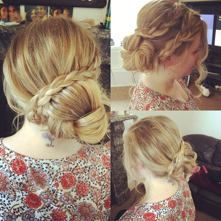 So easy and so effective! Side bun and plaits for attending a wedding .