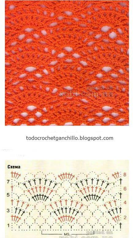 Punto calado crochet abanico