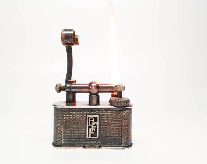 FUNKTIONIERT DUNHILL Feuerzeug - 1950er Jahre Dunhill riesigen Art-Deco-Schweizer Silber vergoldet Lift Halbarm Tischfeuerzeug