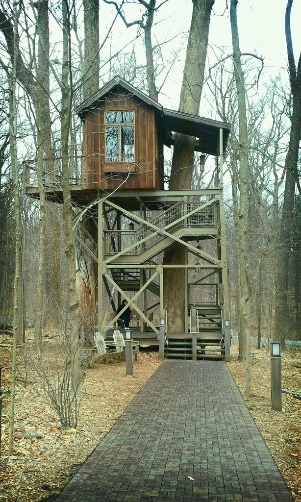 The Birdhouse. A beautiful tree house with a fancy terrace rising nearly 20-feet. It has been crafted using reclaimed lumber from an old dai...