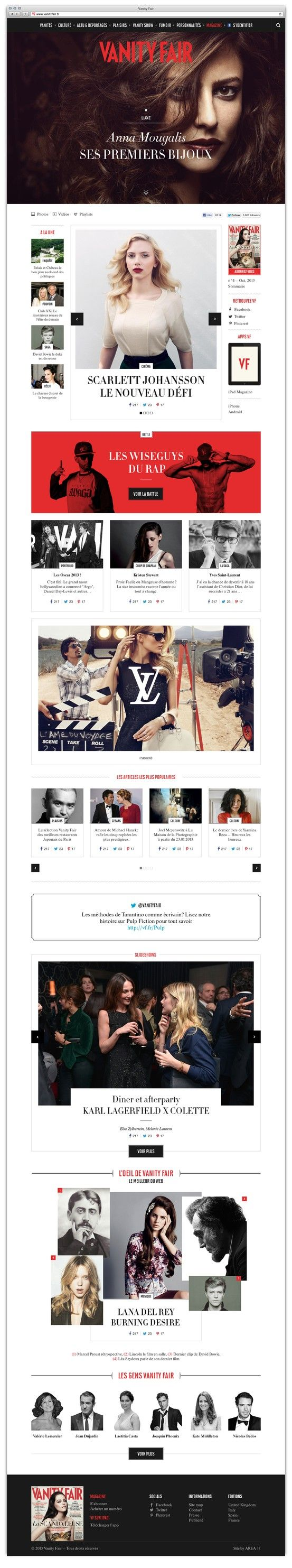 There's nothing quite as timeless as Vanity Fair's mixed typography. We love the chic sophistication it brings to their website design. #webdesign #typography