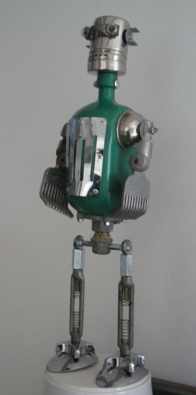 Robot RX11. Pièce unique de 50cm. : Sculptures, gravures, statues par leo-store