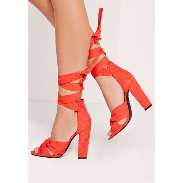 Missguided Twist Strap Block Heeled Sandals ($68) ❤ liked on Polyvore featuring shoes, sandals, red, red high heel shoes, heeled sandals, block heel shoes, strappy high heel sandals and red heeled sandals