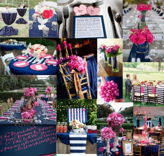 navy and pink: Decor, Colors Combos, Dreams, Wedding Ideas, Colors Schemes, Wedding Colors, Receptions Ideas, Navy Pink Weddings, Bridal Shower Colors