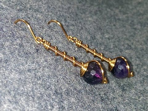 Simple earrings with spherical stones - How to make wire jewelery - YouTube