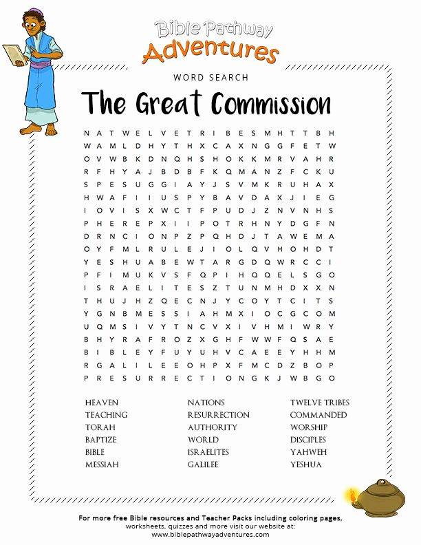 Great Commission Coloring Page Best Of Bible Word Search ...