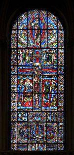 Cathédrale Saint-Pierre de Poitiers. Vitrail de la Crucifixion (xiie siècle).