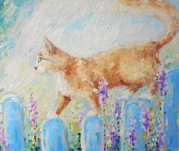 Ginger Cat on a walk Custom Pet Oil painting Bright by FrozenLife