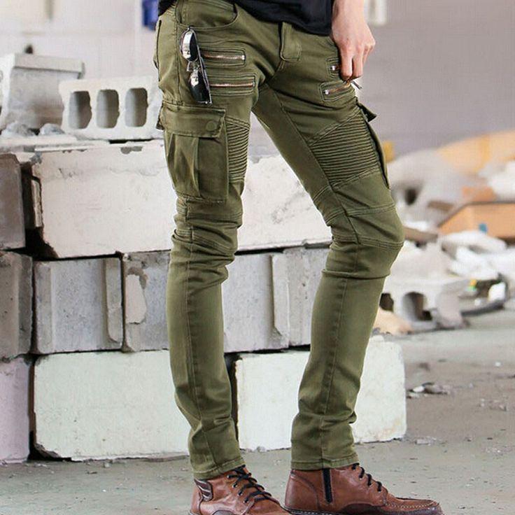 Latest Hi Street Mens Cargo Jeans Designer Muli Pockets Zippers Skinny Elastic…