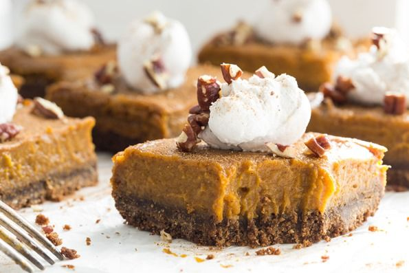 Vegan Pumpkin Pie Squares with Gluten-Free Graham Cracker CrustGluten Fre Graham, Gluten Free Vegan, Vegan Pumpkin, Pies Squares, Graham Crackers, Thanksgiving Desserts, Crackers Crusts, Vegan Thanksgiving, Pumpkin Pies