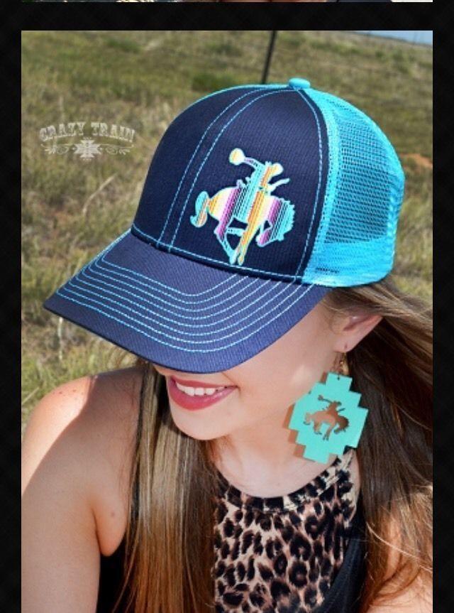 TURQUOISE Western Trucker Baseball Cap Hat w/ Serape Aztec Bucking Bronc Cowboy #CrazyTrain #Trucker