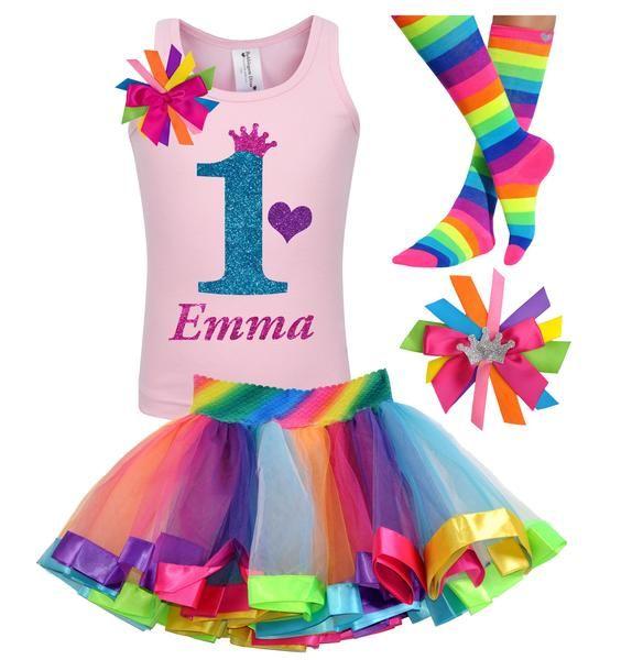 1st Birthday Shirt Rainbow Tutu Girls Party Outfit 4PC Set – Bubblegum Divas Store