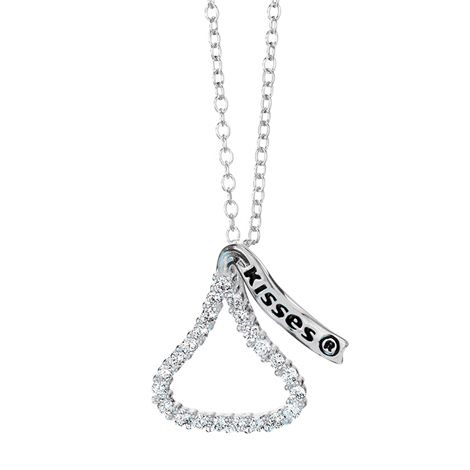 """Sterling Silver Hershey's #Kisses #Necklace Say """"I love you"""" with a kiss! Adorable pendant embellished with cz's. Sterling #silver chain, 48 cm L.  #chocolate #chocolat #Hershey #Avon #collier #bijou http://bit.ly/1GB6X17"""