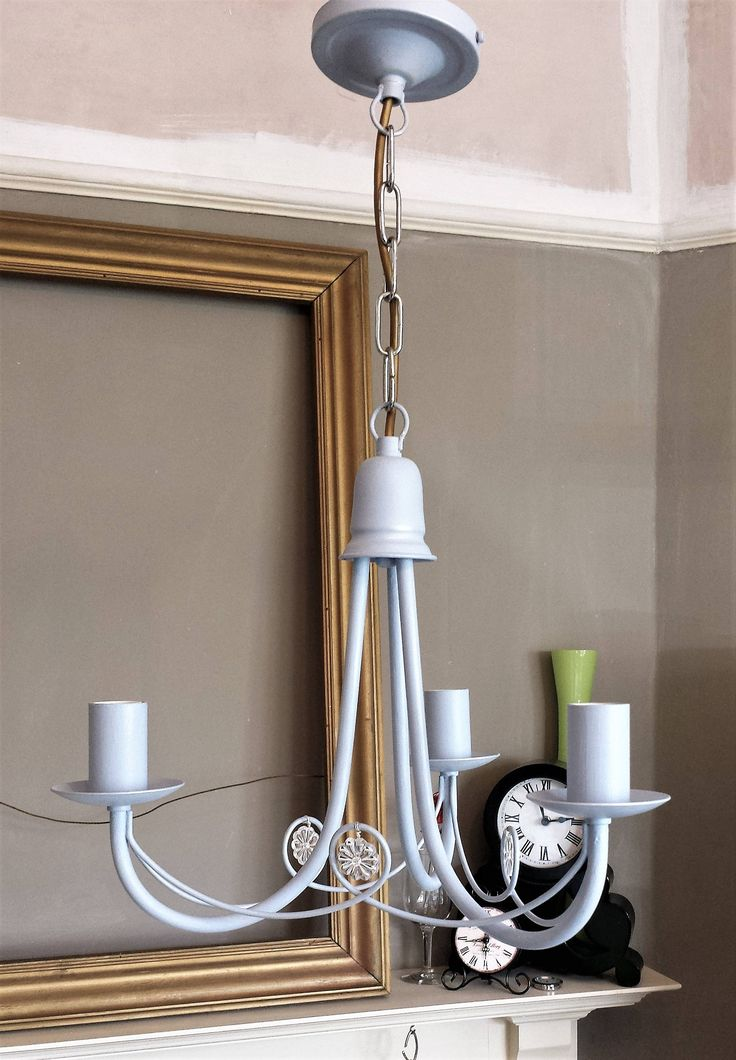 Crystal Light Modern Pendant Fixture Upcycled In Louis Blue Annie Sloan Chalk Paint Shabby Chic Lamp Chandelier Lighting