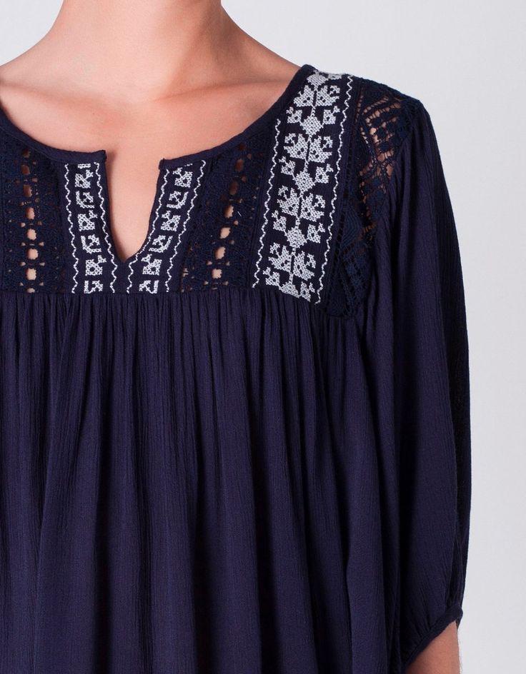 blusa bordada y calada amplia ropa bordada fina moda 2016