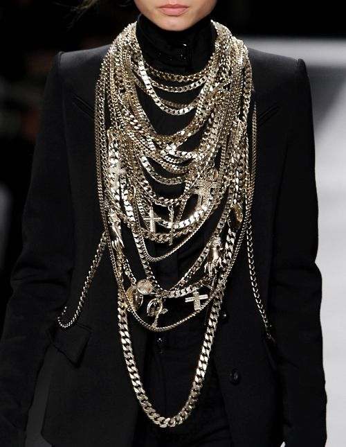 : Bling, Fashion, Statement Necklaces, Givenchy, Chains, Accessories Style, Silver Jewelry, Style Details, Heavy Metals