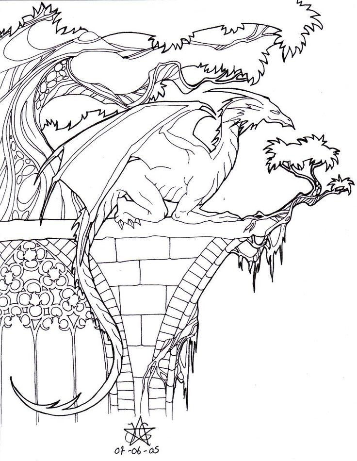 Dragon on Church Ruins by daisyamnell on deviantART Dragons Black White Dragon Mythical