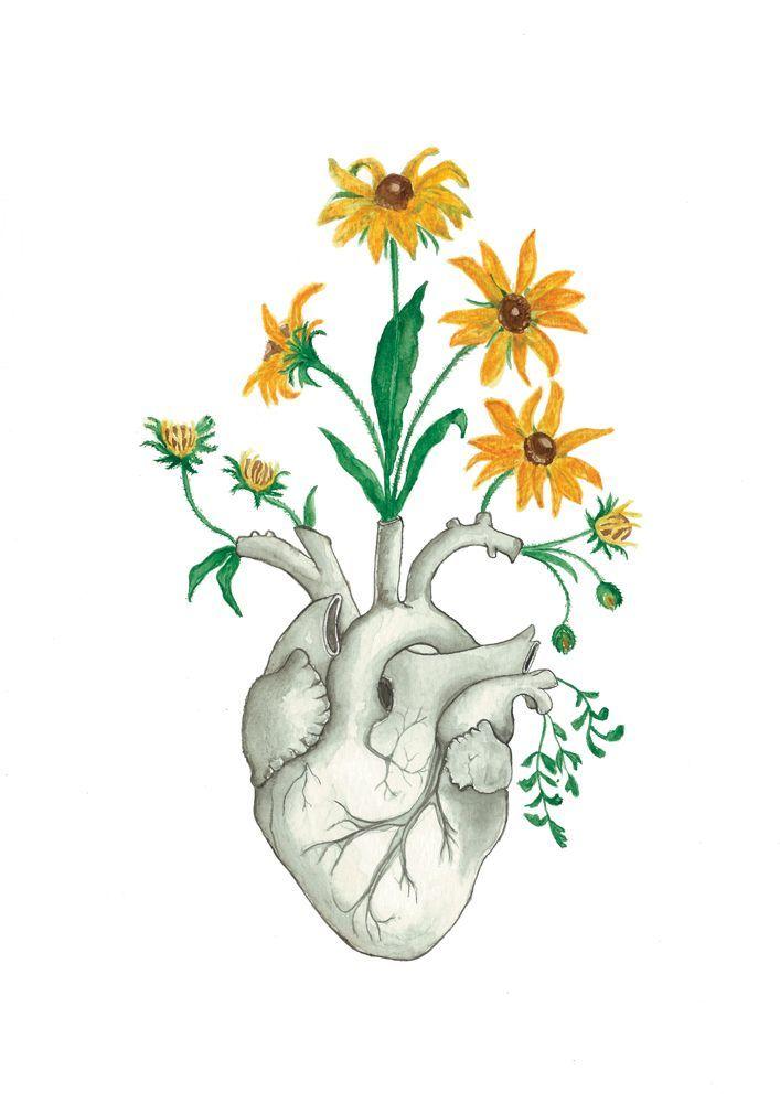 Anatomy Art Human Heart Print Floral Gift Flower Poster