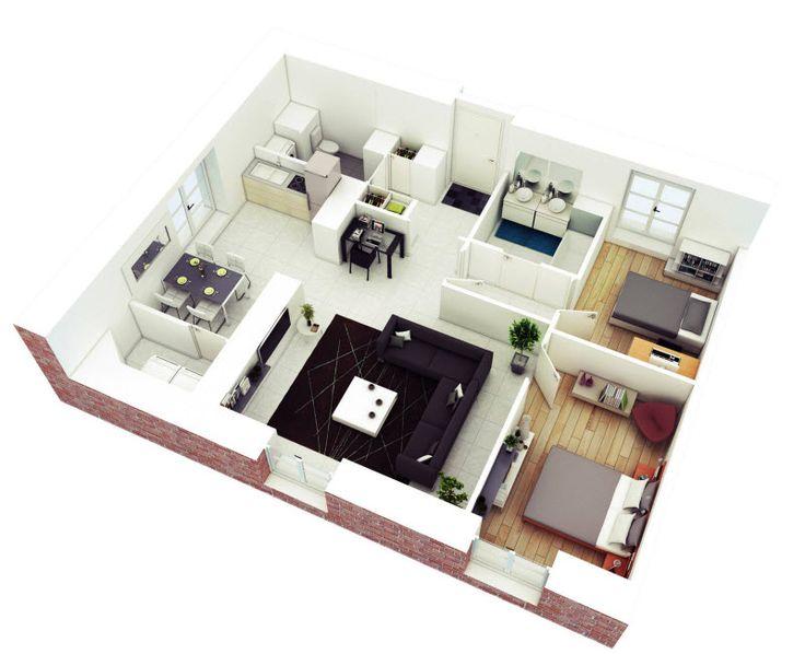 Planos De Departamentos De Dos Dormitorios, Selección De 50 Diseños Que Te  Inspiraran En La Construcción. House Plans DesignDesign Your House3d Home  ...