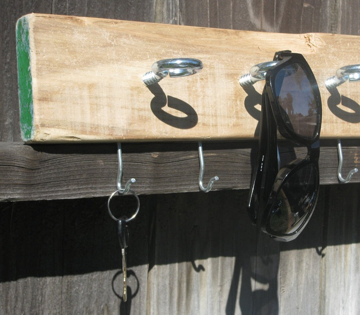 Driftwood Sunglass, Key & Leash Wall Rack // Wall Mount Storage Holder for Entryway // Salvaged, Upcycled // OOAK Rustic Decor. $54.00, via Etsy.