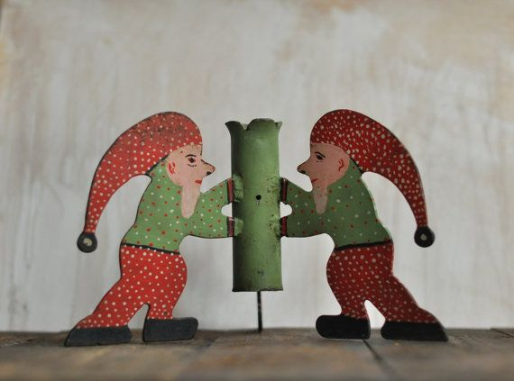 Vintage Christmas Tree stand with three gnomes, Christmas decoration, dwarfs, red and green dwarf, metal tree stand, traditional Christmas