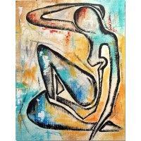Acryl schilderij van Aleksandra op canvasdoek, een vrouwenfiguur in de stijl van de beroemde schilder Henry Matisse. Formaat 70 x 90 cm. | Kunstvoorjou.nl #kunst #schilderij #vrouw #kunstvoorjou #canvas #woonkamer #interieur #kantoorkunst #slaapkamer #kunstaandemuur #wanddecoratie