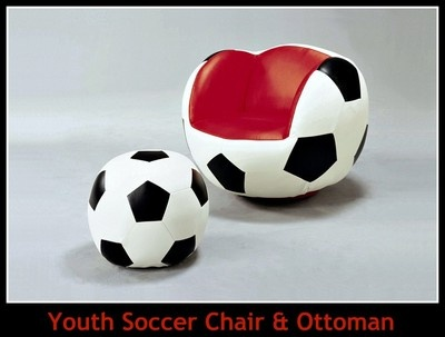 A perfect complement to any athletic themed kids room, this Soccer chair, complete with soccer shaped ottoman, would be the perfect place for your child to sit while enjoying their favorite MLS teams game. Mounted on a swivel, this seat can move in a 360 degree circle providing your child easy viewing access to any part of their room.