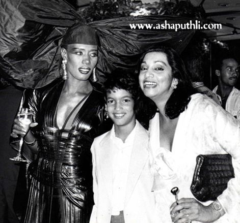 Grace Jones and her son, Paulo Goude with Asha Puthli.