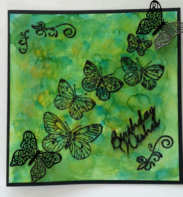 Birthday Wishes card, Alcohol ink on glossy paper, heat embossed butterflies and metal butterflies