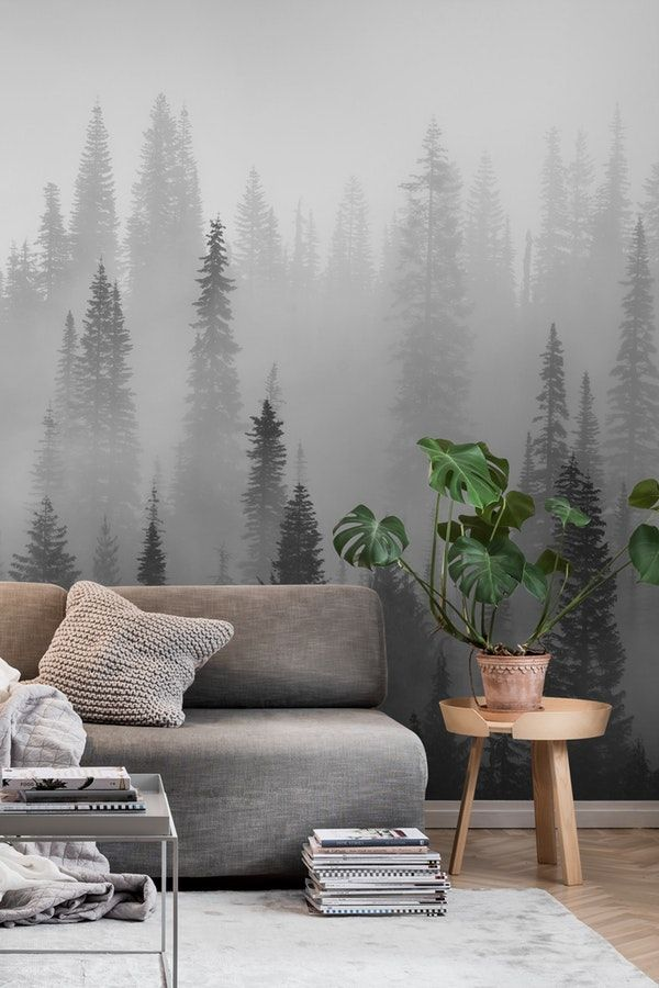 Misty Forest Black And White Wall Mural Wallpaper Forest