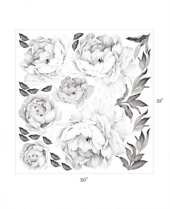 Pfingstrosen Blumen Wandaufkleber Schwarz Weiss Aquarell