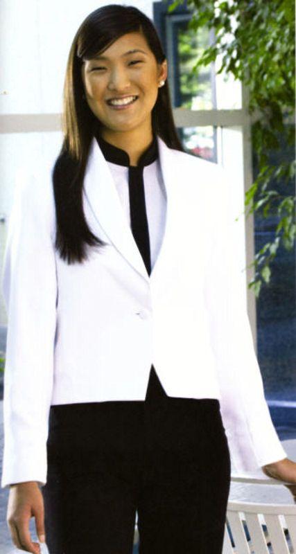 Classy eton jackets aren't just for men! We sell amazing women's formal jackets that look great on front desk staff! http://www.sharperuniforms.com/1btneton-vest-ladies.html