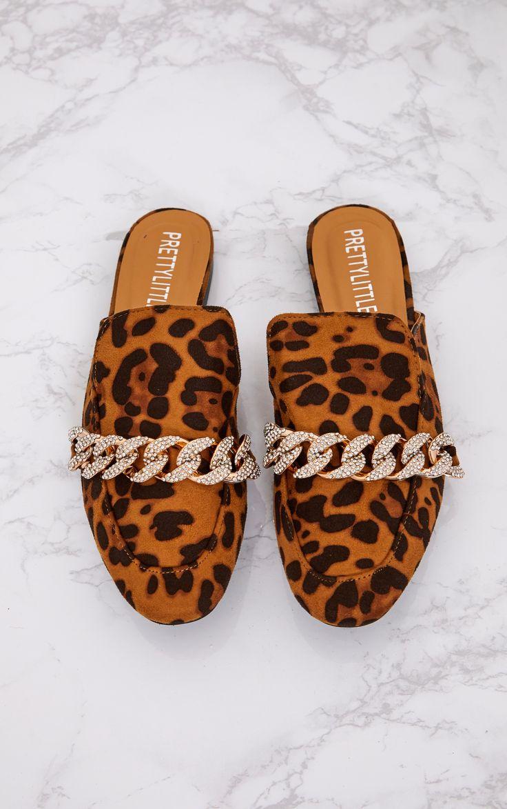 Leopard Print Diamante Chain Mules