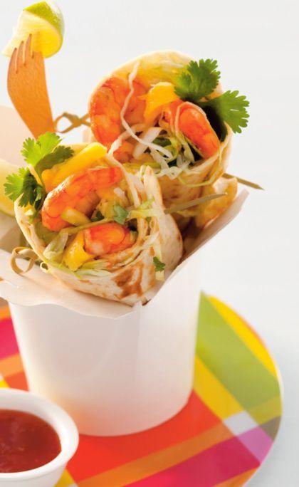 Recept voor wraps met garnalen, mango en chilisaus