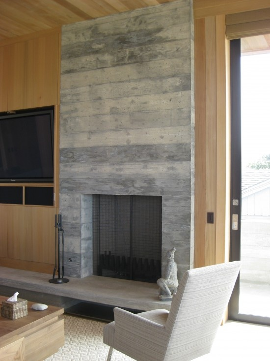 Gas fireplace reclaimed wood surround fireplace for Large modern fireplaces