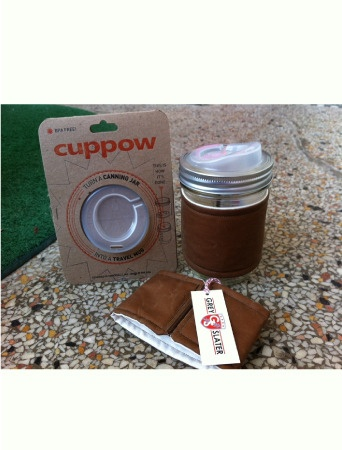 Brilliant!!  Turn a mason jar into a travel mug with Cuppow! Best Eco-friendly way to enjoy your coffee!!! (And I love my cozy from Grey Slater, too) #coffee #eco #brilliant