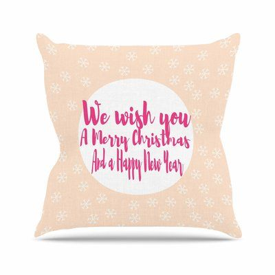 "East Urban Home Suzanne Carter Merry Chistmas & Happy New Year Outdoor Throw Pillow Size: 16"" H x 16"" W x 5"" D"
