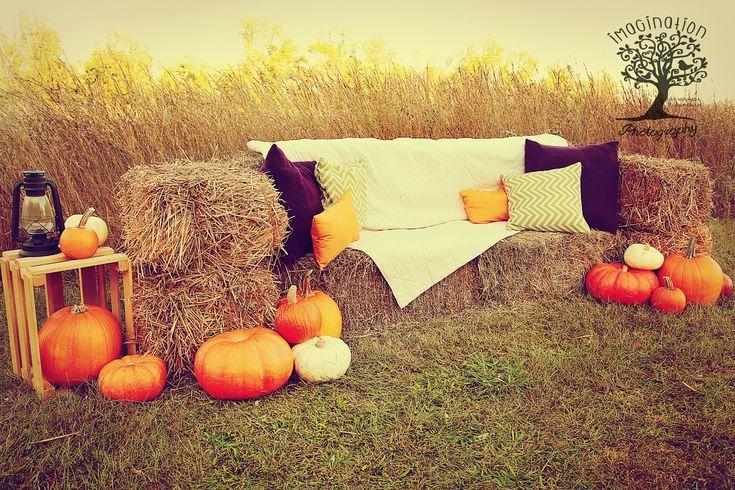 2014 Fall mini session set Hay bale couch, field, pumpkins, pillows www.imaginationphotog.com