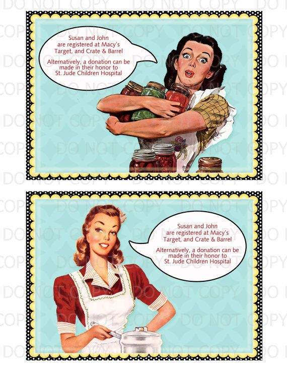 Printable 1950's Retro Housewife Gossip Girls Bridal