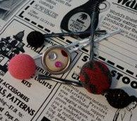 Pink and Polka Dot 80s Vintage Hair Accessory Bobby by thineintime