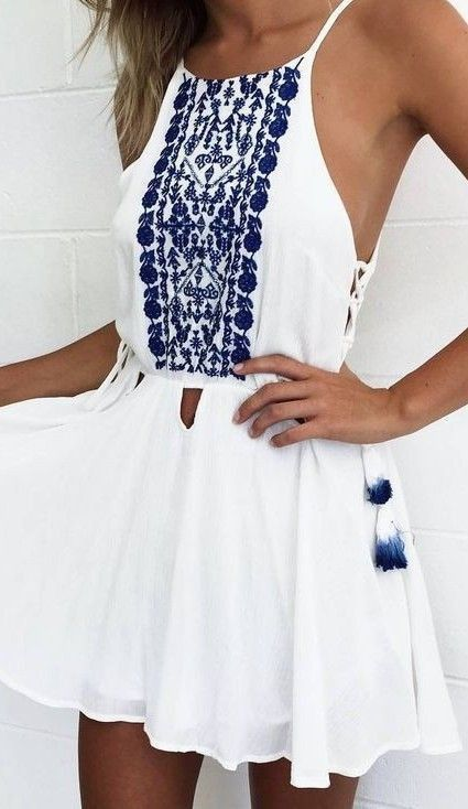 #spring #outfits  White Embroidered Dress