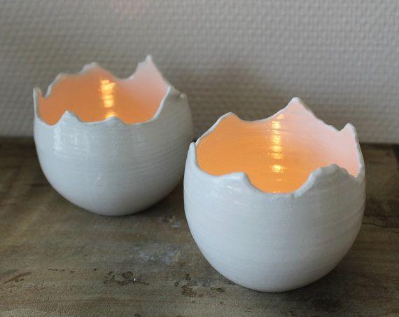 Glassa di ceramica candela titolare bianco. di kelverum su Etsy
