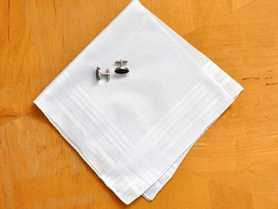 Set of 3 Mens Handkerchiefs with Satin Stripes