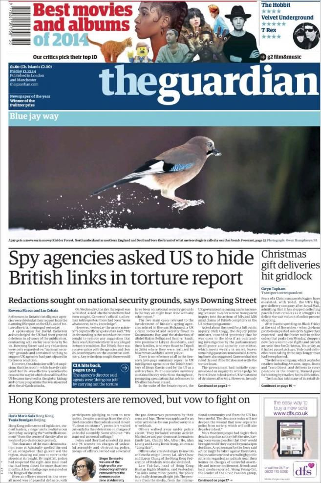 Report on the CIA: 'Spy agencies asked US to hide British links in torture report'   VoxEurop.eu: European news, cartoons and press reviews