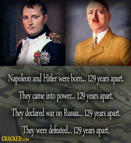 29 Mind-Blowing Coincidences You Won't Believe Happened Slideshow | Cracked.com. BOTH TYRANTS AND OPPRESSORS, BOTH TRULY DISGUSTING EXCUSES FOR HUMAN BEINGS!!!