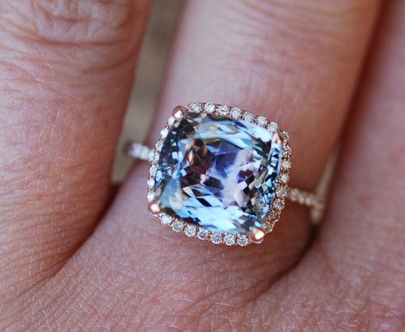 Tanzanite Ring. Rose Gold Engagement Ring Lavender Mint Tanzanite Cushion halo engagement ring 14k rose gold.