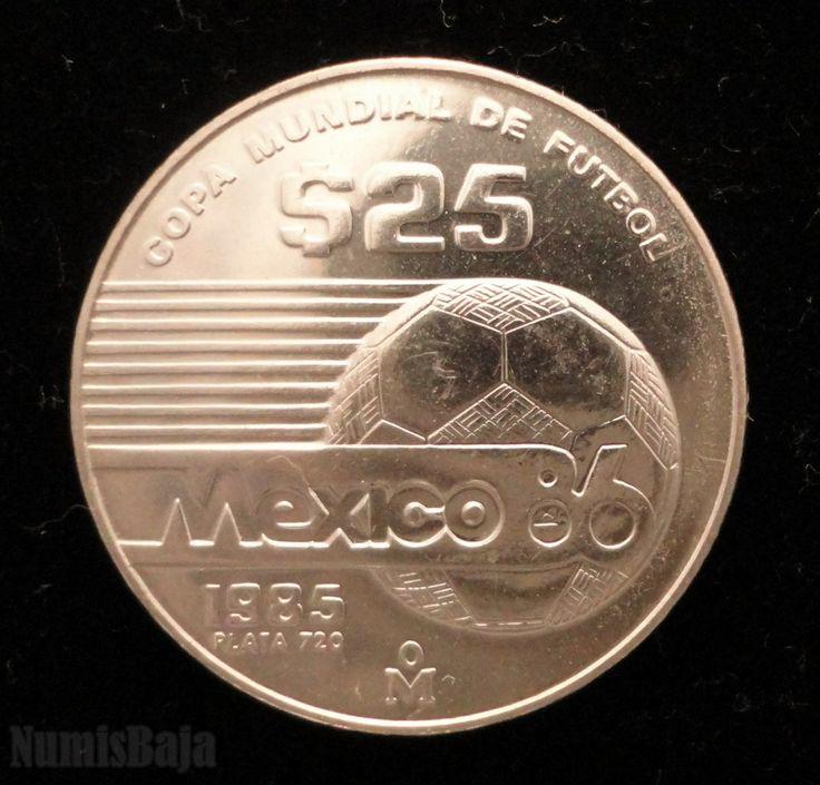 25 pesos de plata copa mundial de fútbol México 86